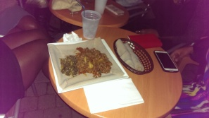 Delicious Ethiopian food on deck!