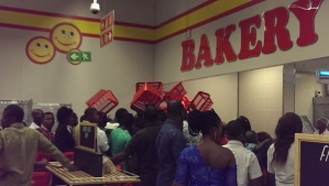 Anxious customers await the famous baked bread at an Asaba Shoprite