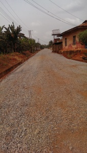 A road in Igbodo, Delta State being prepared for paving.